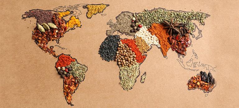 Landkarte mit Gewürzen zum Welternährungstag
