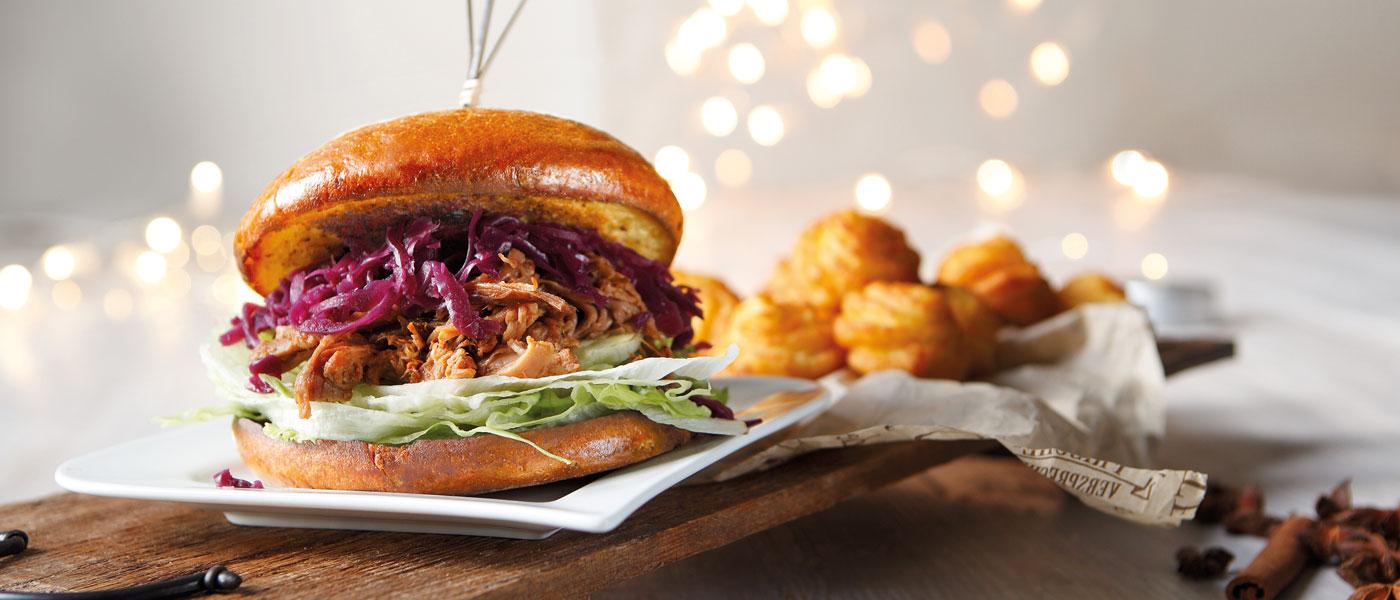 Brioche Burger Weihnachten Winter Kroketten Pulled Pork Rotkraut