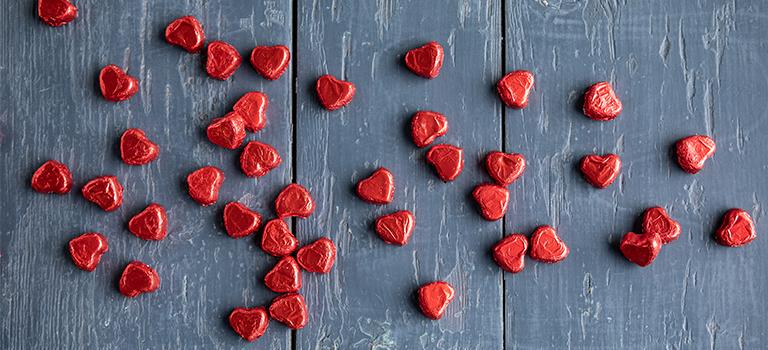 Kleine Pralinenherzen zum Valentinstag